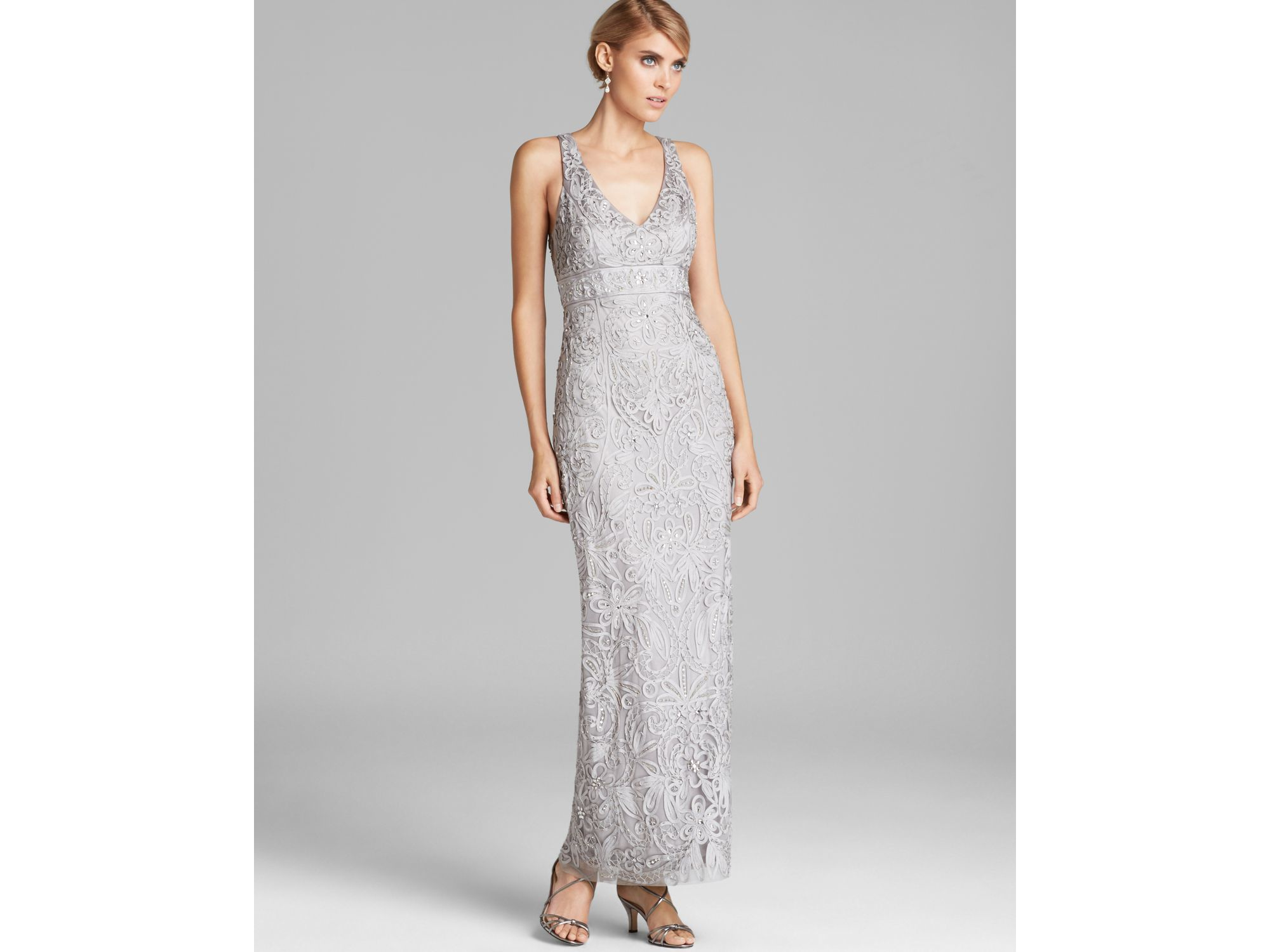 044258c7071 Sue Wong V Neck Beaded Gown in Black - Lyst