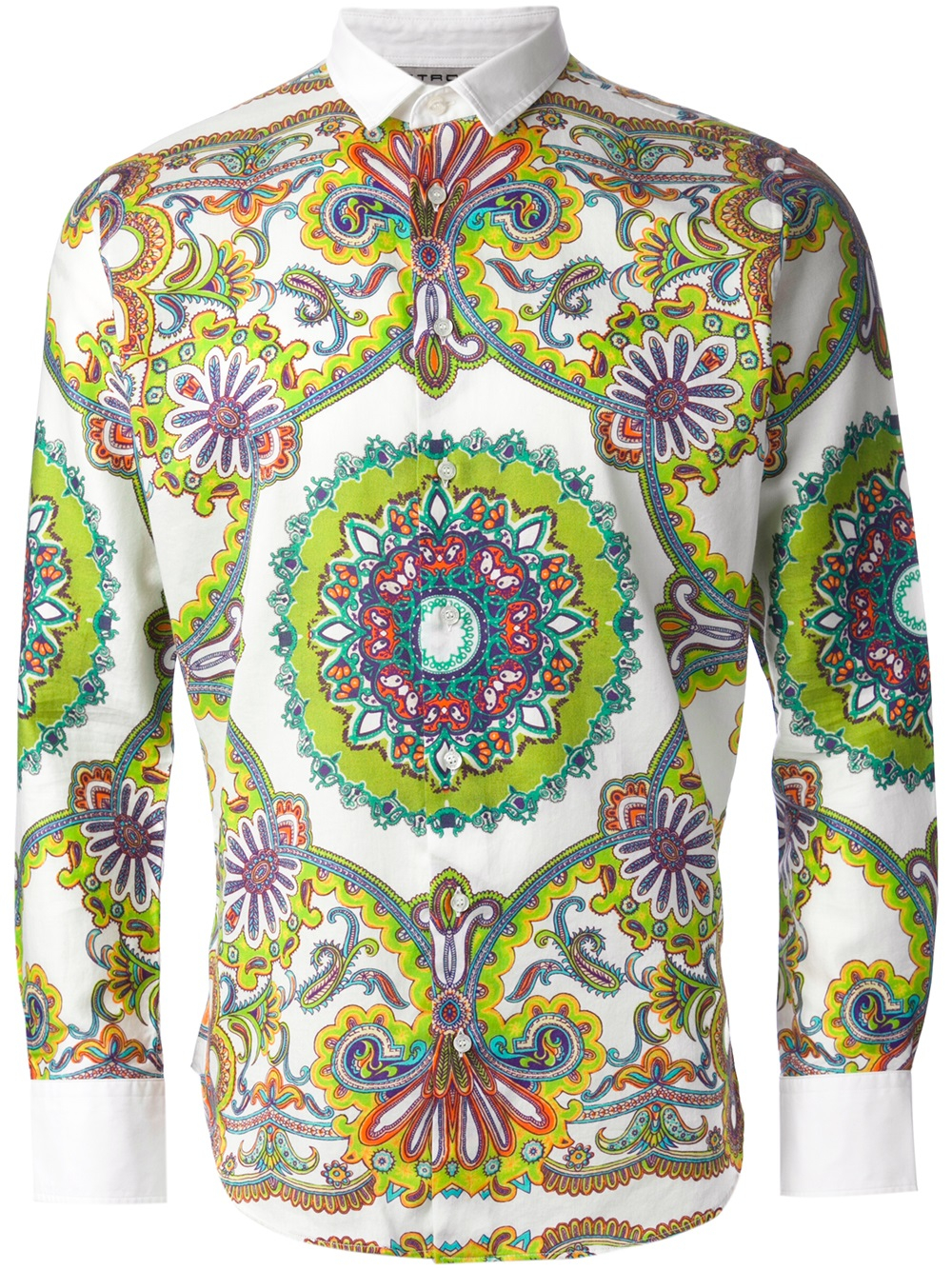 Lyst etro mixed paisley print shirt in green for men for Etro men s shirts