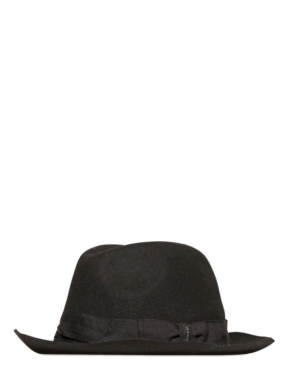 0da7bf213c0 Lyst - DIESEL Wool Fedora Hat in Black for Men