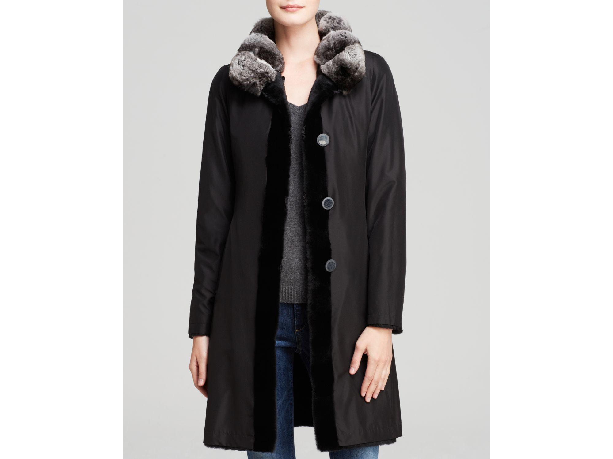 Maximilian Reversible Sheared Mink Coat With Chinchilla Fur Collar