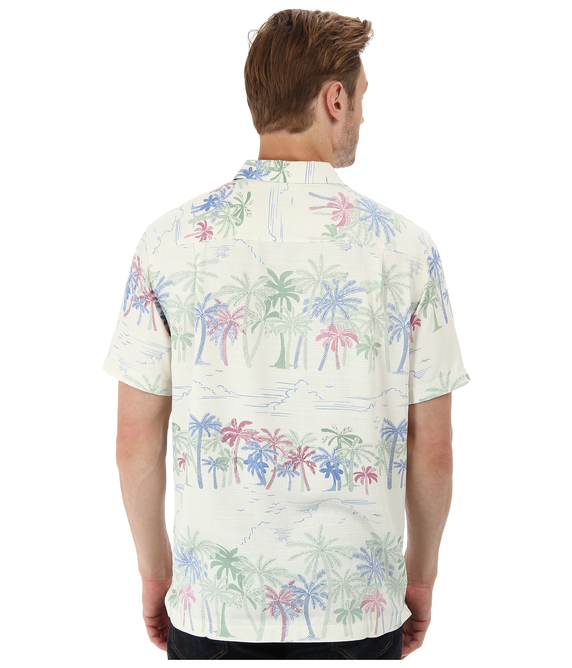 Tommy bahama island modern fit palm selleck ss camp shirt for Tommy bahama christmas shirt 2014