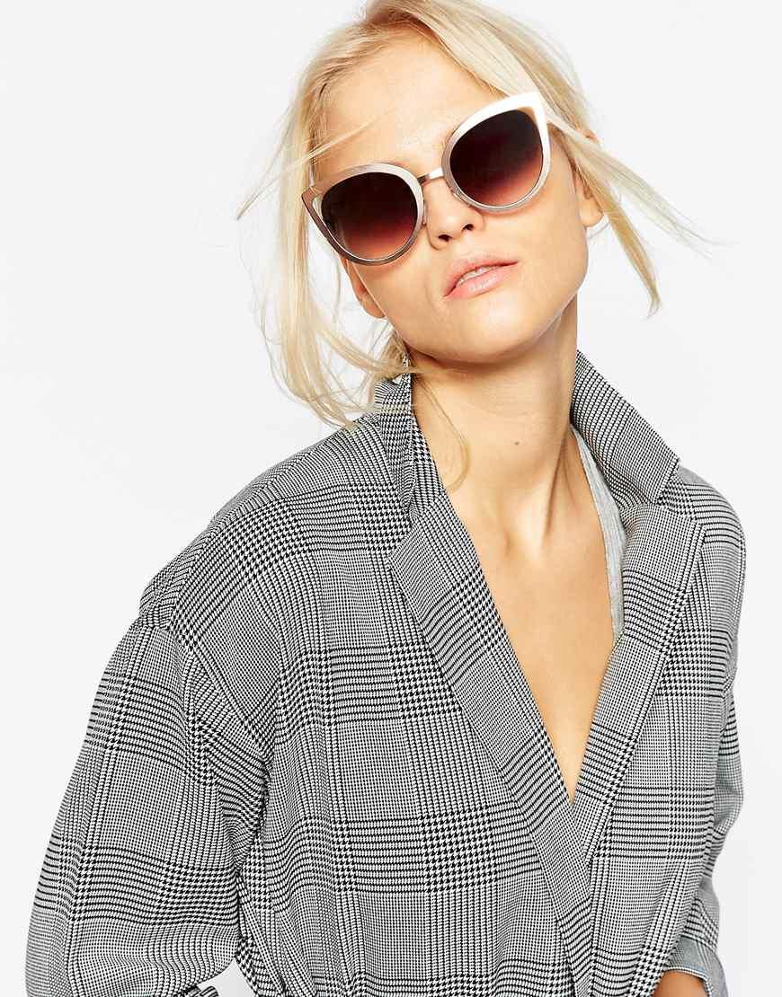 233e29bc367 Asos full metal cat eye sunglasses with cut away in gray lyst jpg 870x1110 Cat  eye