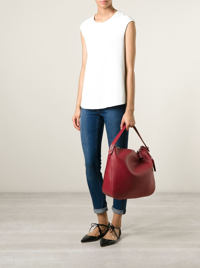 Bally Fiona Leather Shoulder Bag In Red
