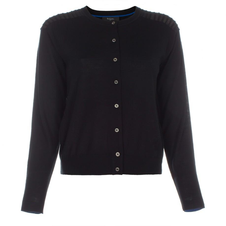 Paul smith Women's Black Merino Wool Cardigan With Sheer Detailing ...