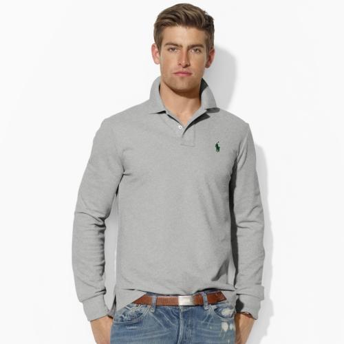 db77f6c8 Polo Ralph Lauren Custom-fit Long-sleeved Polo in Gray for Men - Lyst