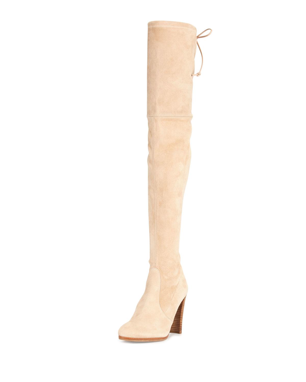 stuart weitzman highland suede over the knee boots in beige buff lyst. Black Bedroom Furniture Sets. Home Design Ideas