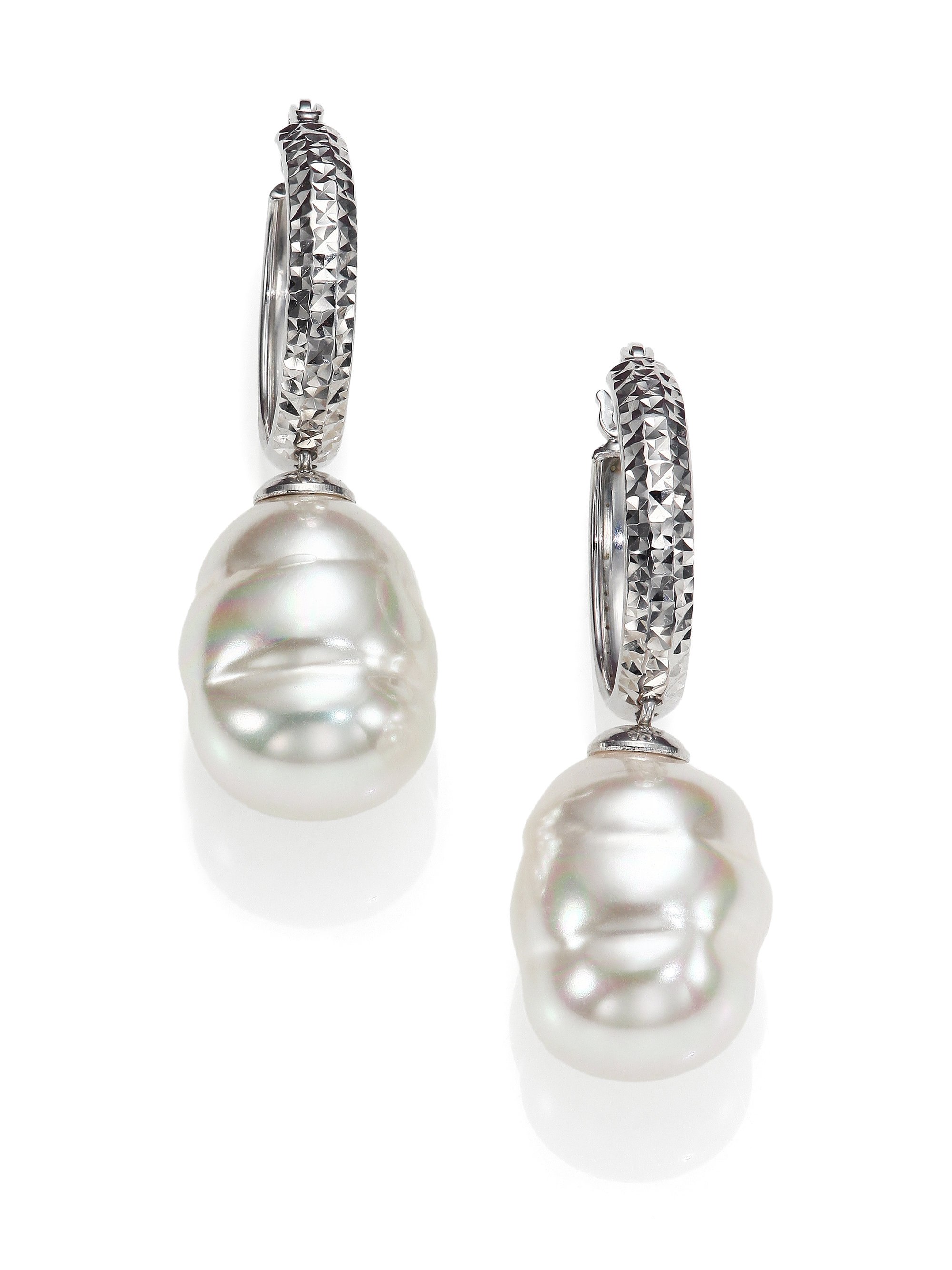 Majorica 12mm White Baroque Pearl & Stering Silver Dangle Huggie