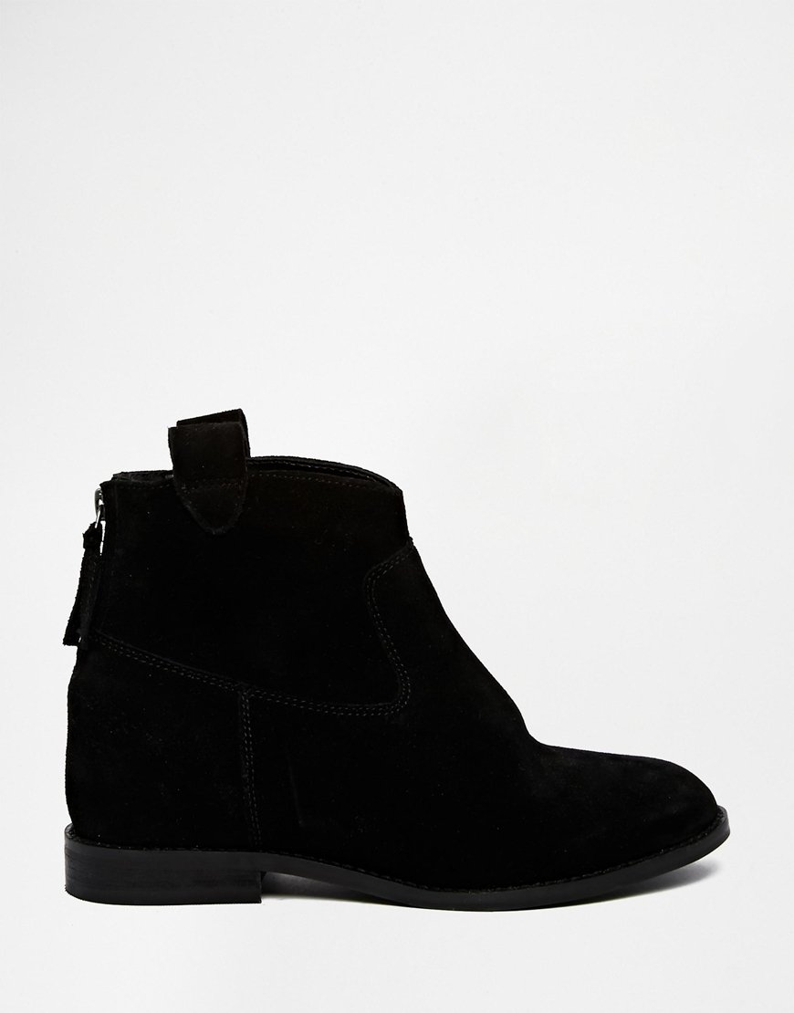 asos horn suede western concealed wedge ankle boots in