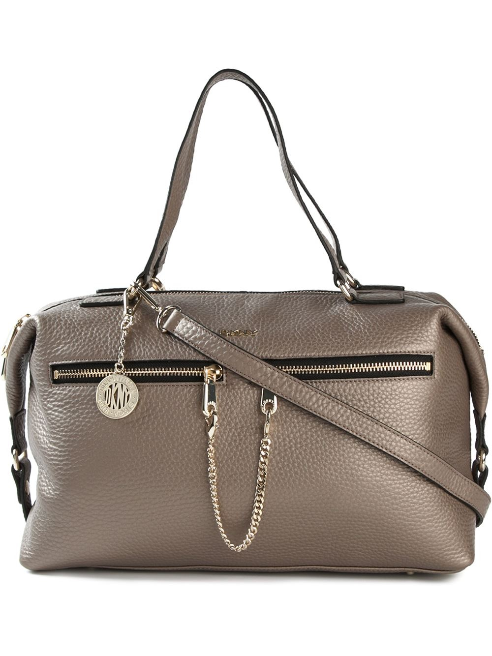 dkny zip detailed crossbody bag in brown lyst