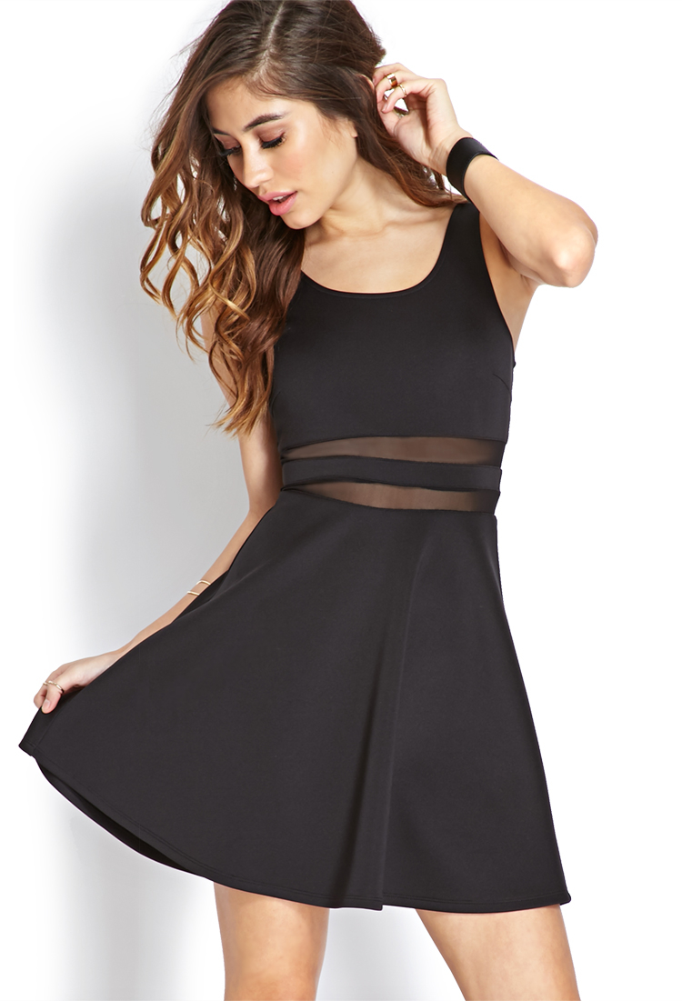 Forever 21 Bombshell Mesh Striped Dress In Black Lyst