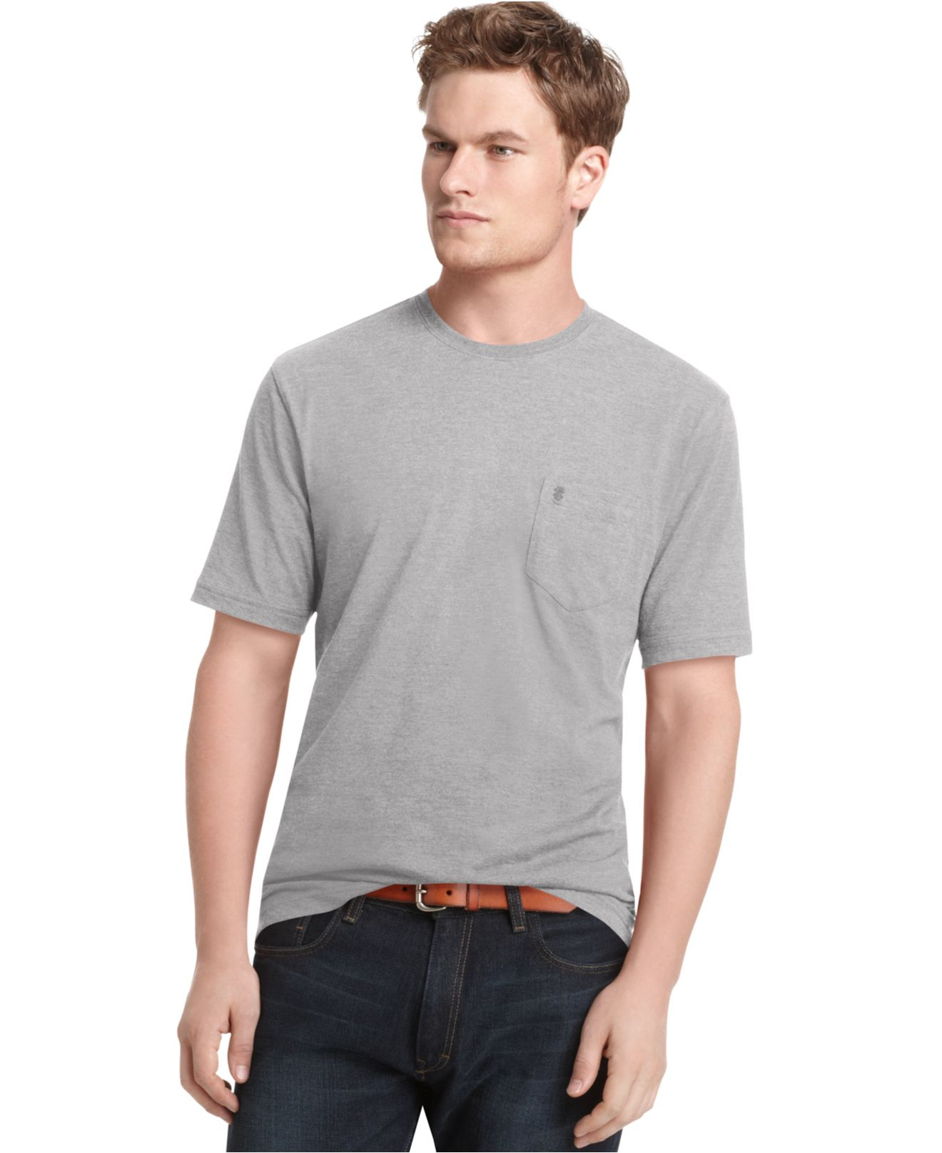 Lyst izod big and tall short sleeve solid pocket t shirt for Izod big and tall essential solid shirt