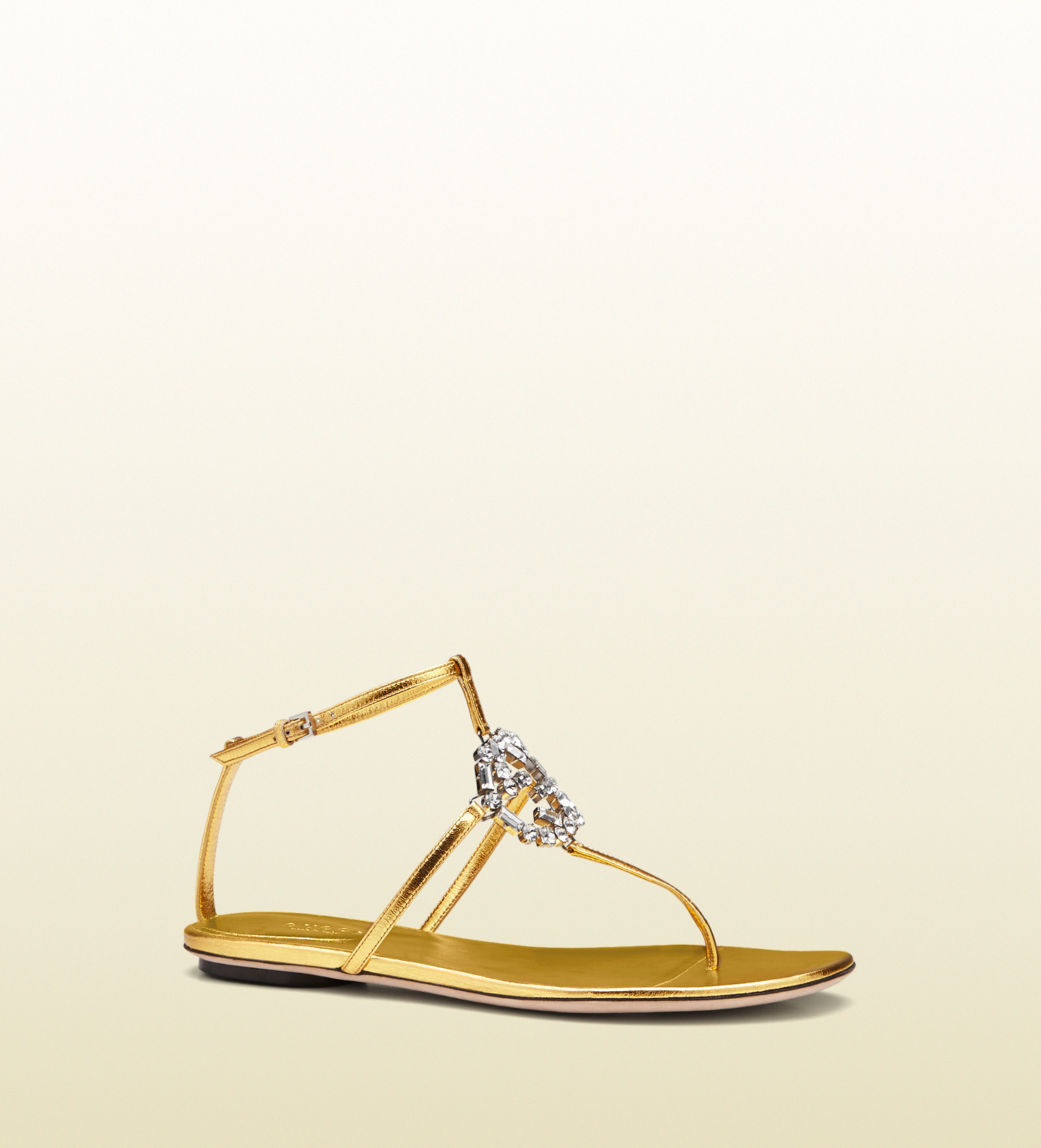 13be1f5af251 Lyst - Gucci Gg Sparkling Metallic Leather Thong Sandal in Metallic