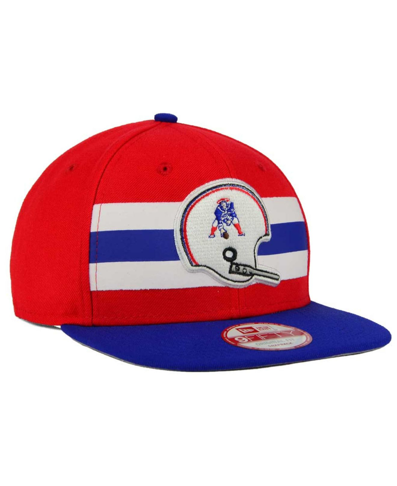 3cbcee9057f Lyst - KTZ New England Patriots Retro Striped 9fifty Snapback Cap in ...