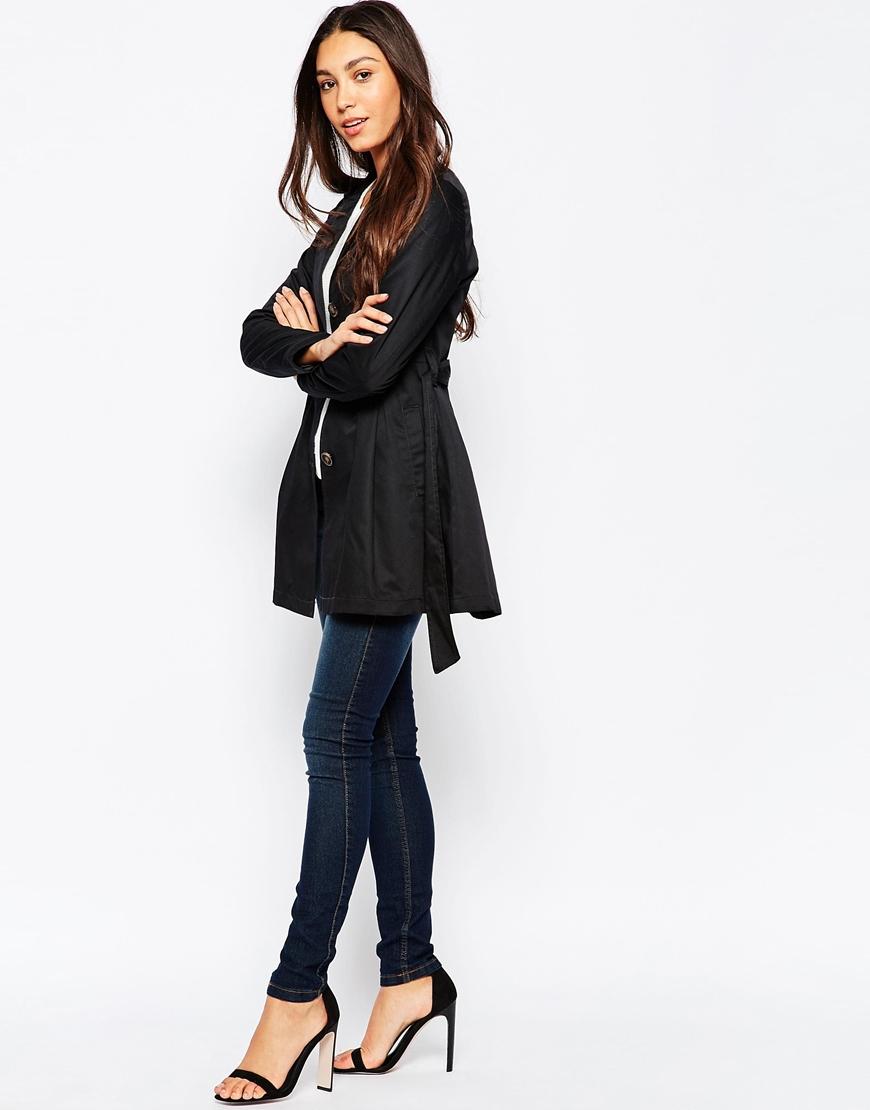 vero moda belted trench coat in black lyst. Black Bedroom Furniture Sets. Home Design Ideas