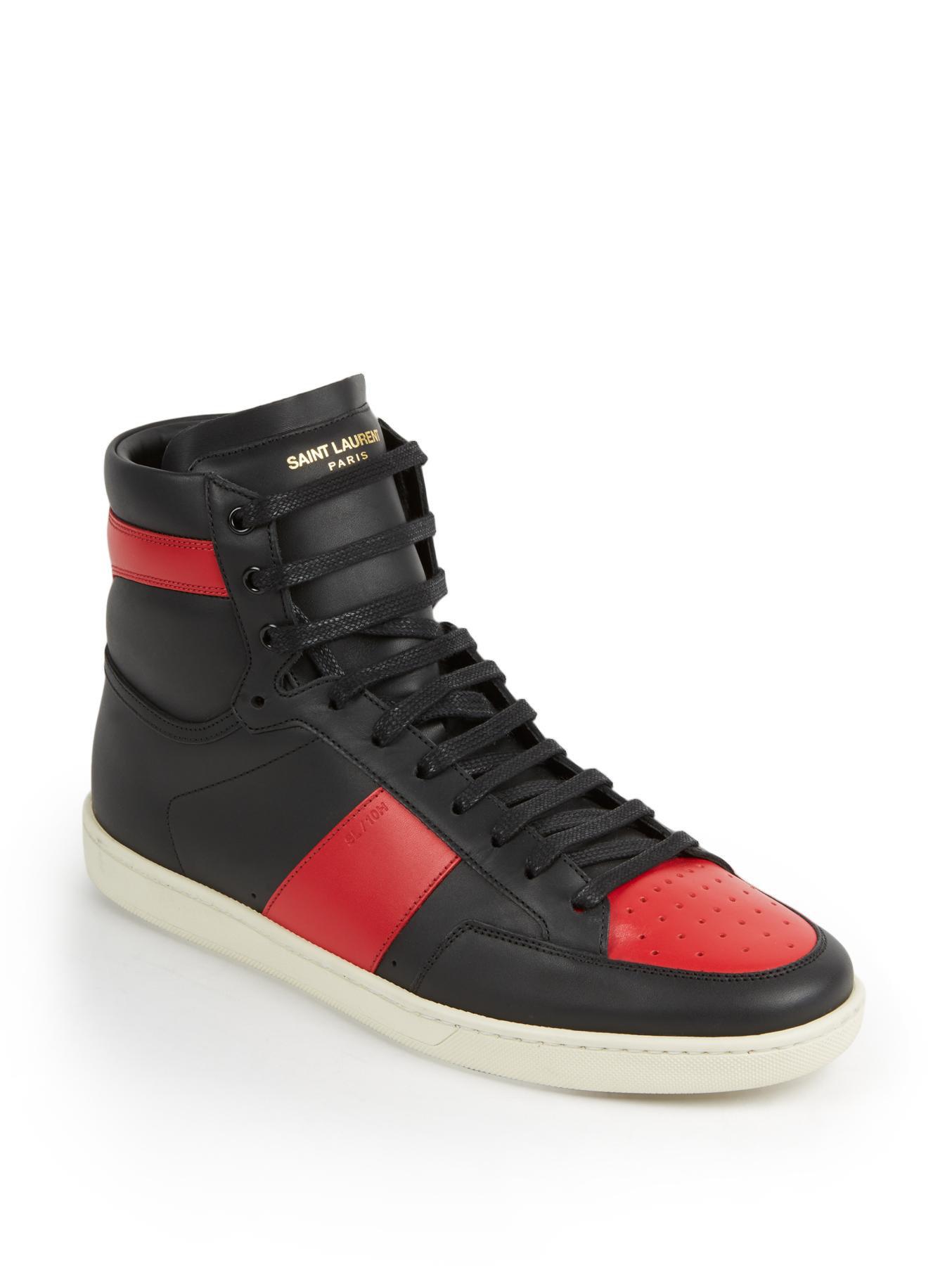 saint laurent colorblocked leather high top sneakers in black for men black red lyst. Black Bedroom Furniture Sets. Home Design Ideas