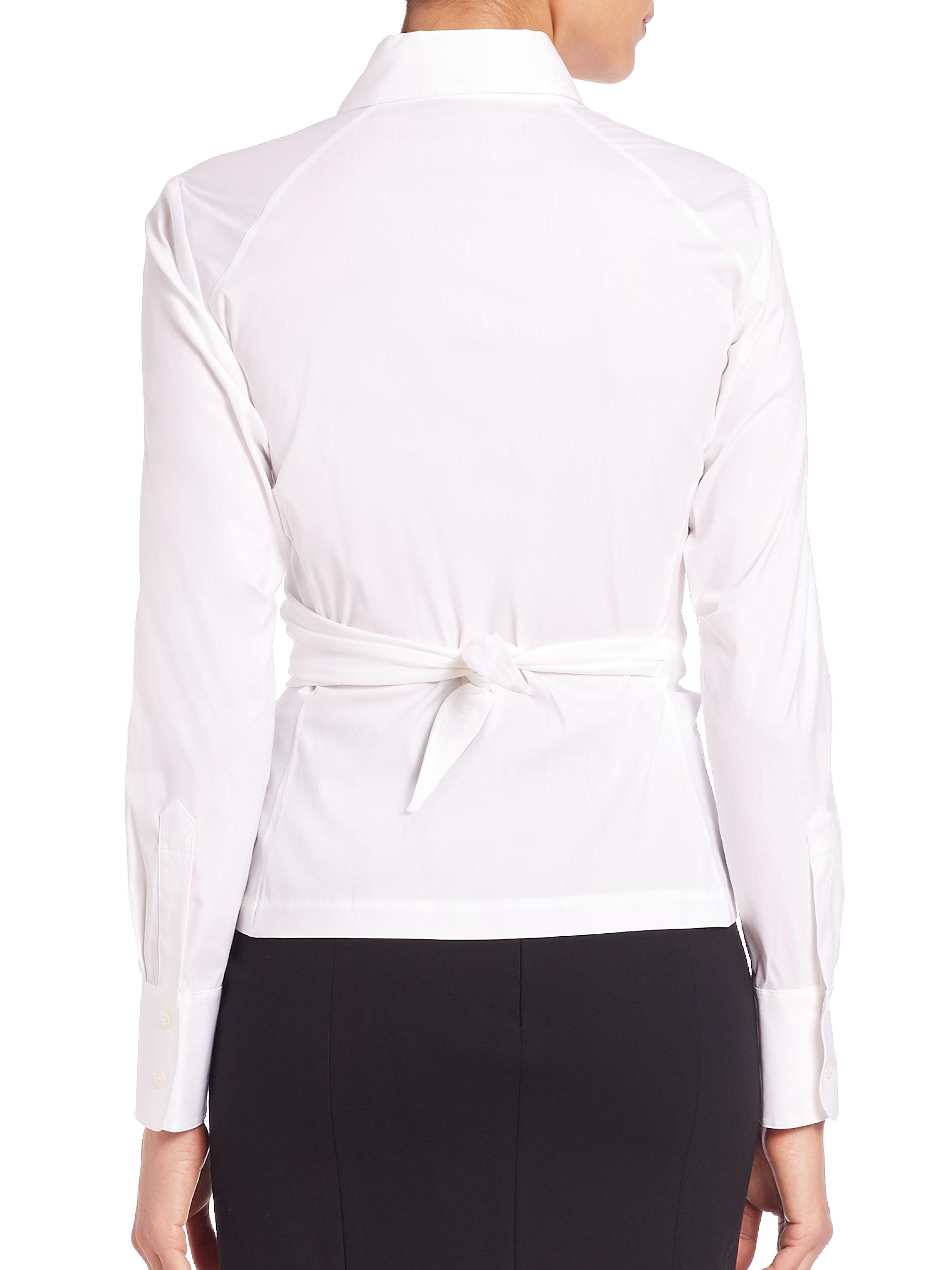 Donna karan Stretch-cotton Wrap Shirt in White | Lyst