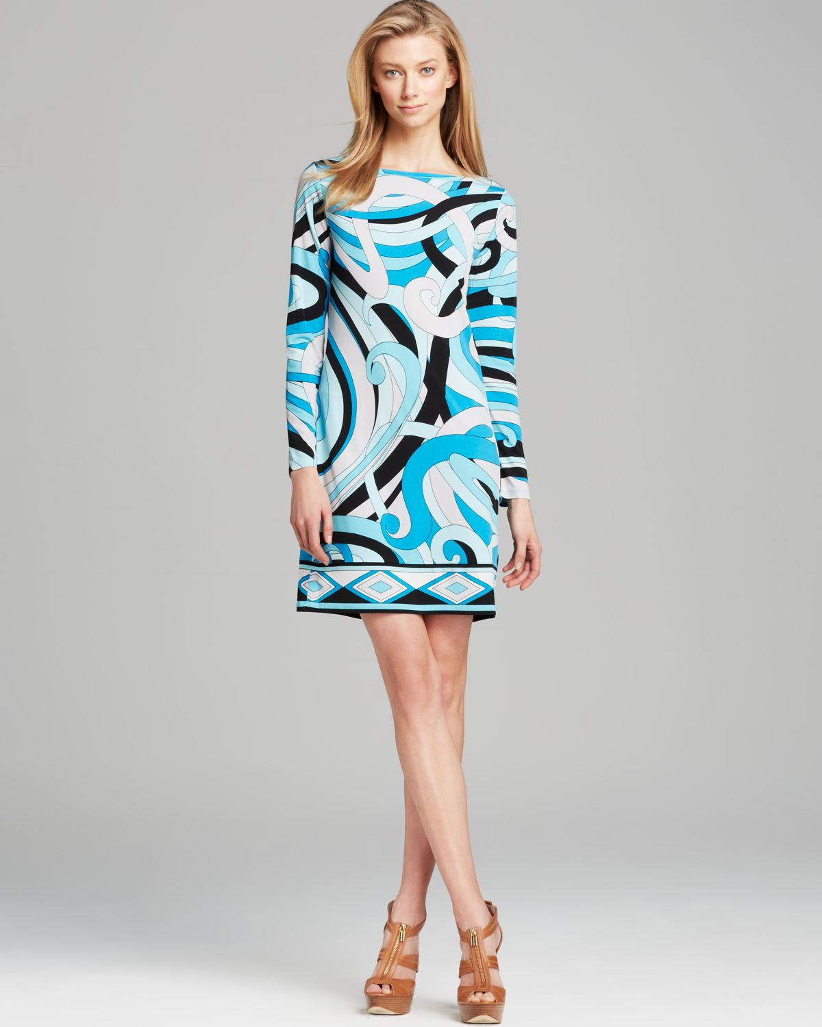Michael michael kors Marquee Boat Neck Print Dress in Blue ...
