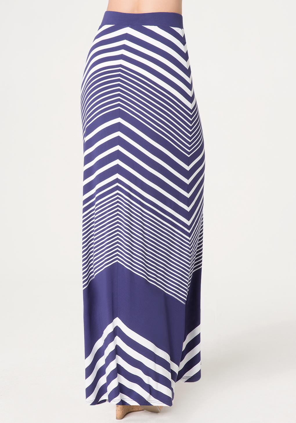 bebe chevron stripe maxi skirt in blue lyst