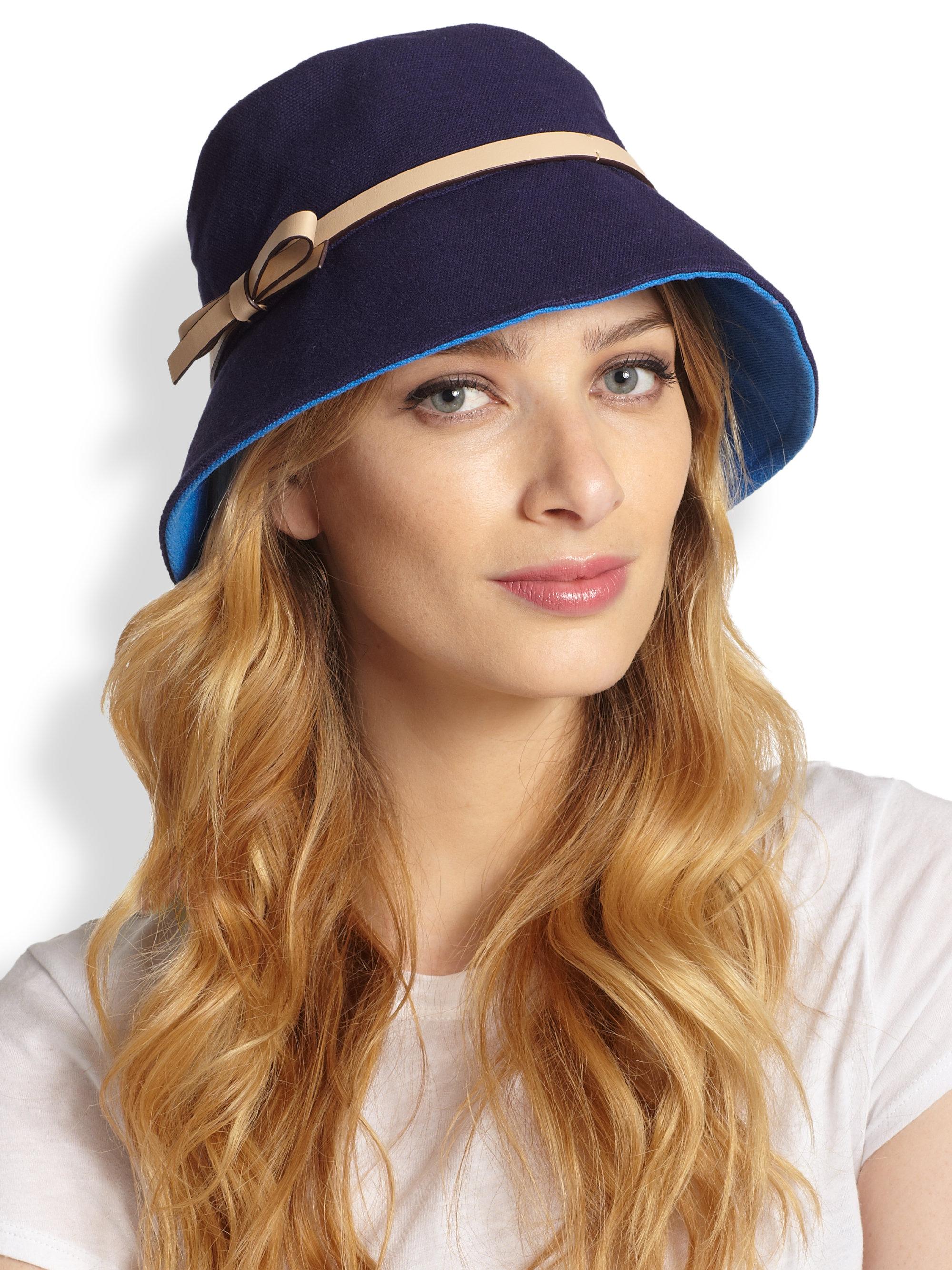 66d1617b7c1 Lyst - Kate Spade Canvas Bucket Hat in Blue