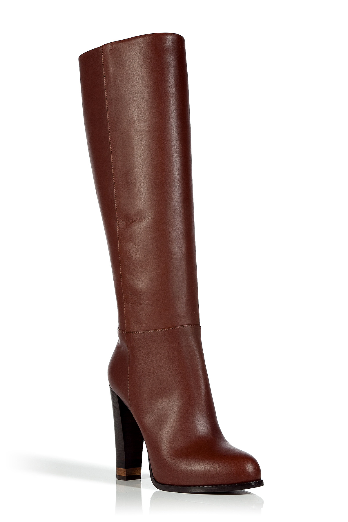 fendi chocolate high heel leather boots in brown lyst