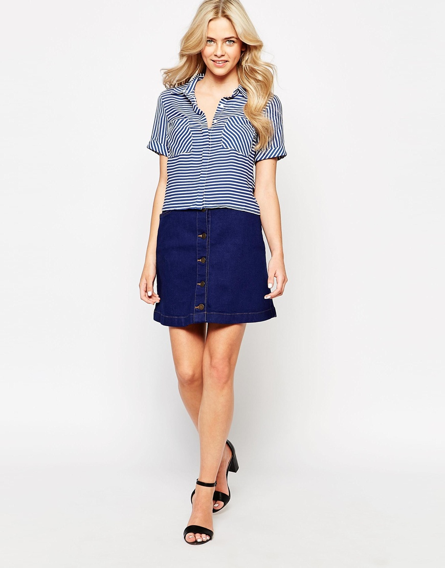 oasis button through denim mini skirt in blue denim lyst