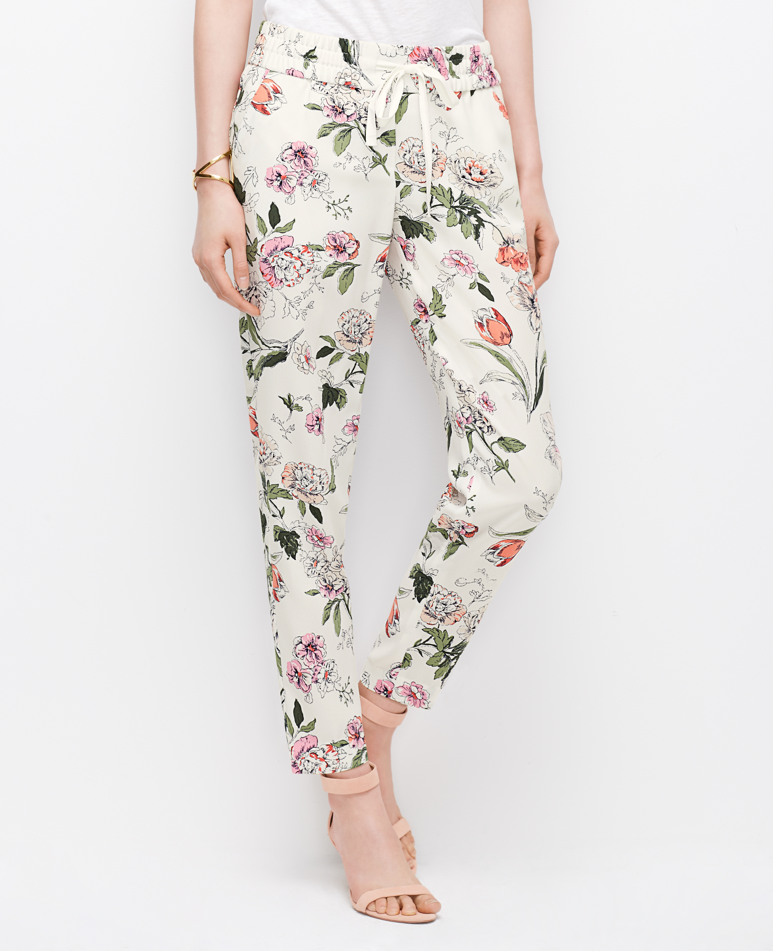 Lyst Ann Taylor Floral Drawstring Ankle Pants In Pink