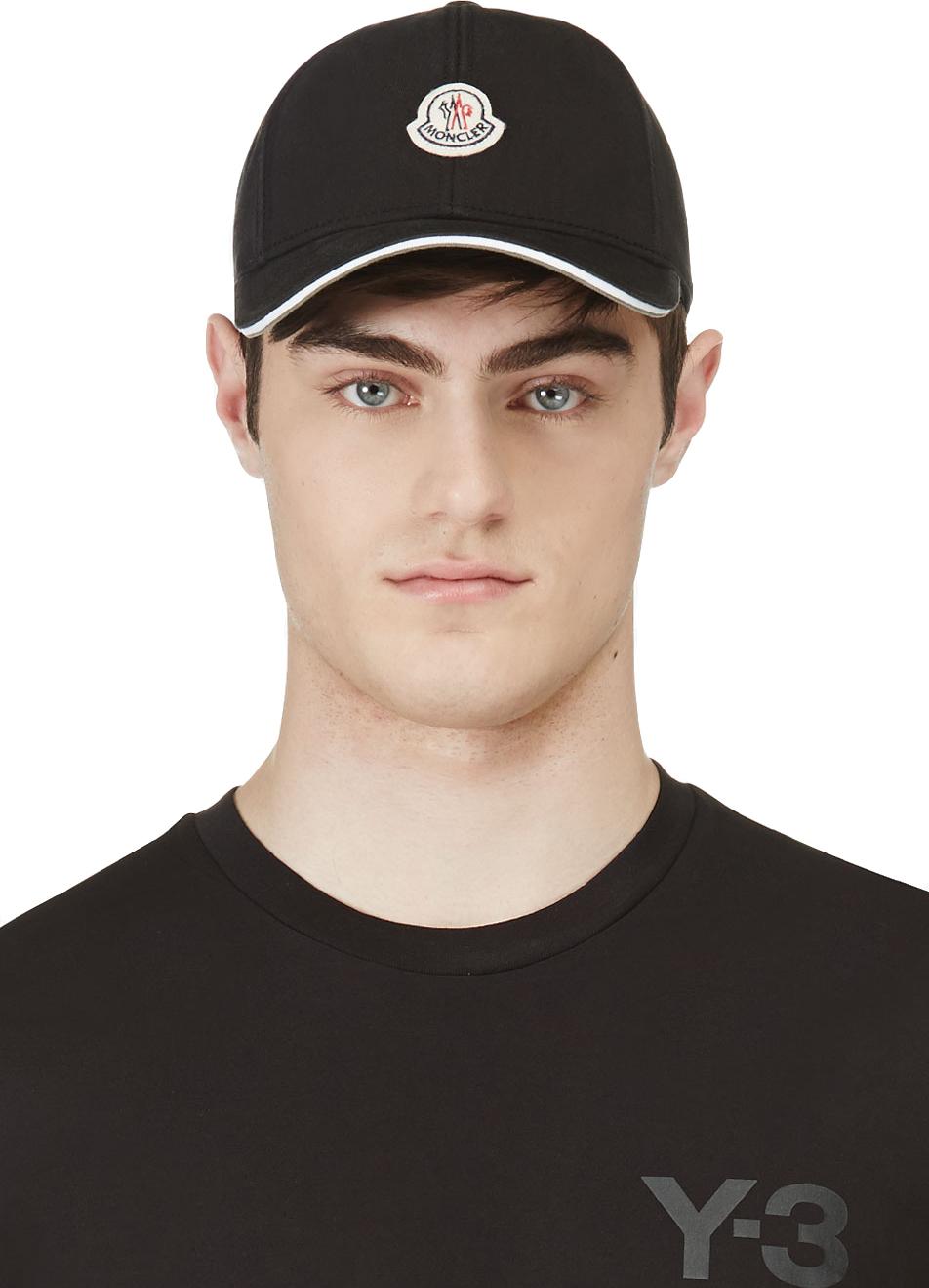 Lyst Moncler Black Logo Baseball Cap In Black For Men