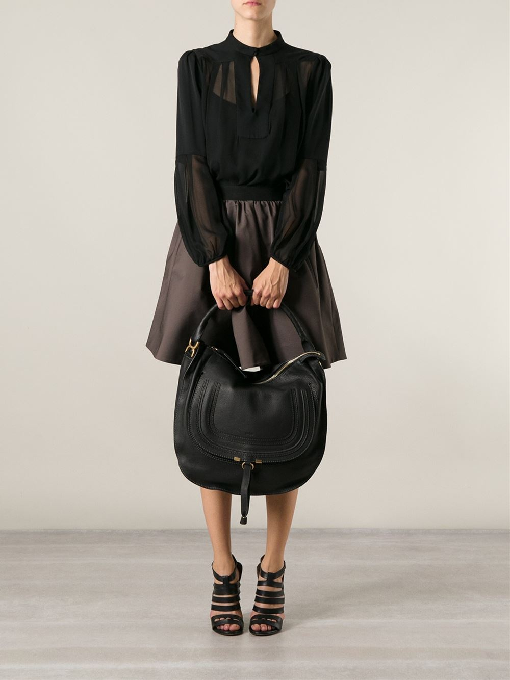 Chlo¨¦ Marcie Hobo Bag in Black | Lyst