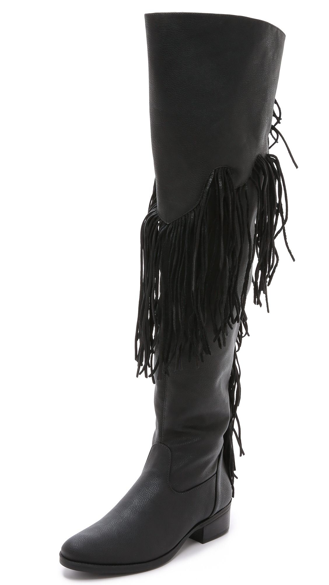 Schutz Kin Tall Fringe Boots - Black in Black | Lyst