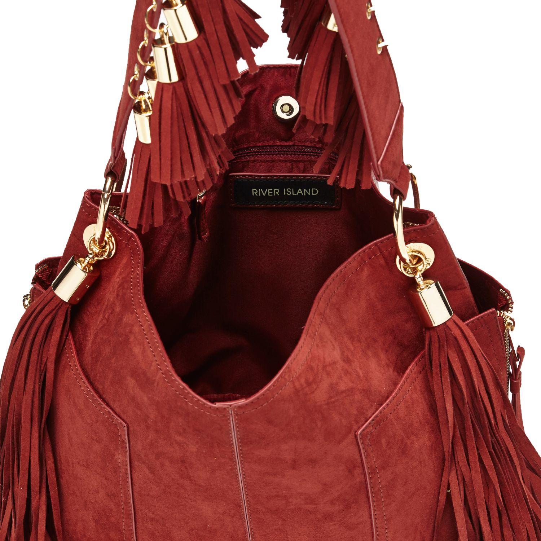 cf1501a31b River Island Dark Red Faux-suede Fringed Bucket Handbag in Red - Lyst