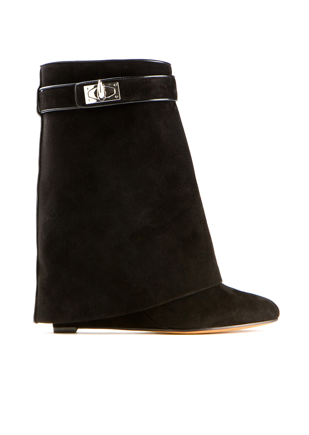 givenchy shark lock black suede wedge ankle boots in black