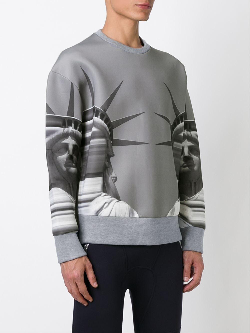 Neil Barrett Cotton Statue Of Liberty Sweatshirt in Grey (Grey) for Men