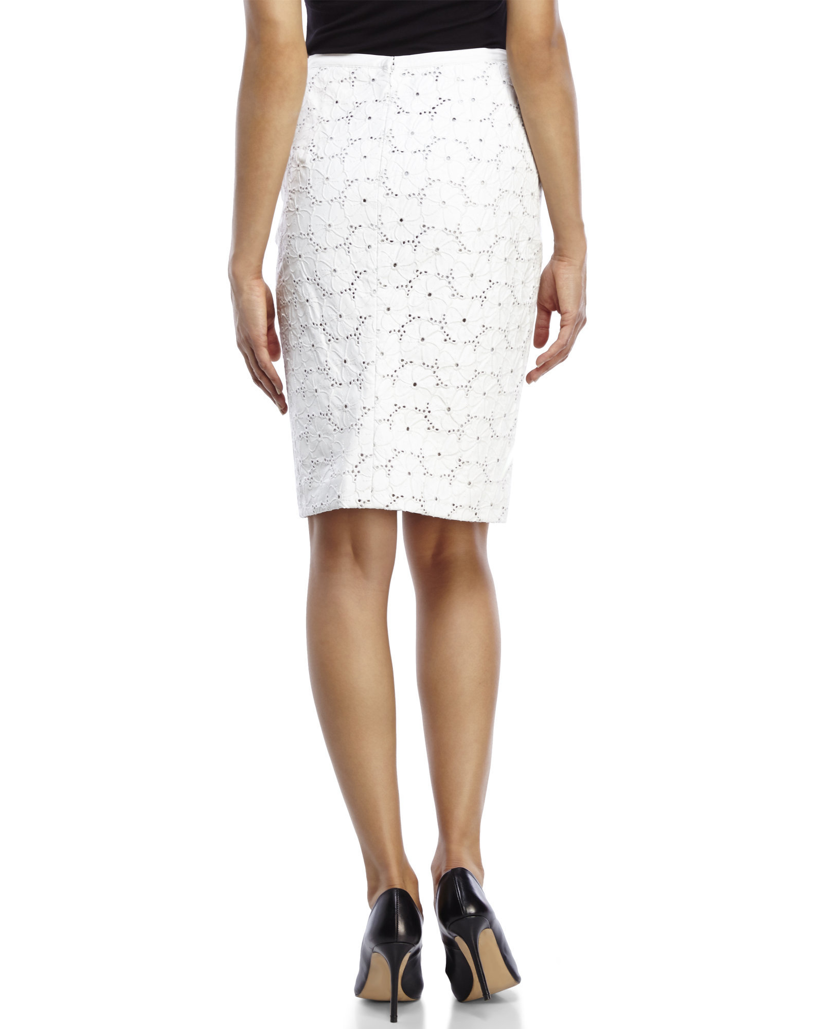 leelee embroidered faux leather skirt in white lyst