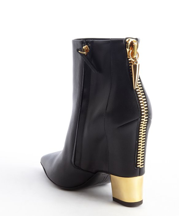 Giuseppe zanotti Black Leather Goldtone Heel Zipper Detail Ankle ...