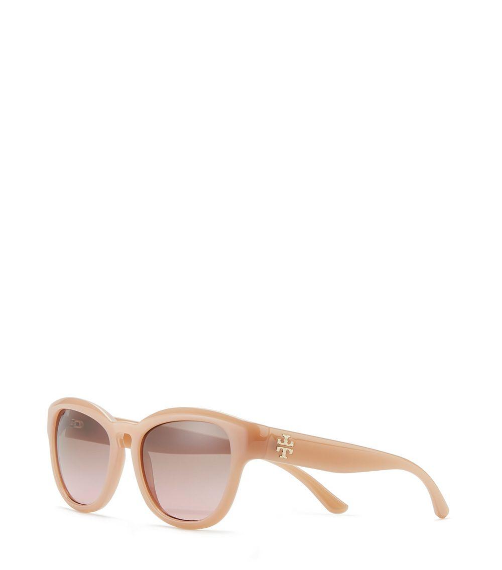 b4e75cd1744 Lyst - Tory Burch Mirror- T  Square Cat-Eye Sunglasses in Natural