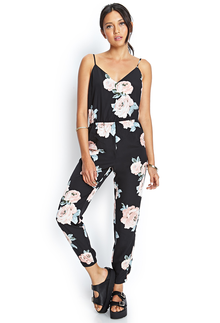 Forever 21 Satin Floral Jumpsuit in Black | Lyst