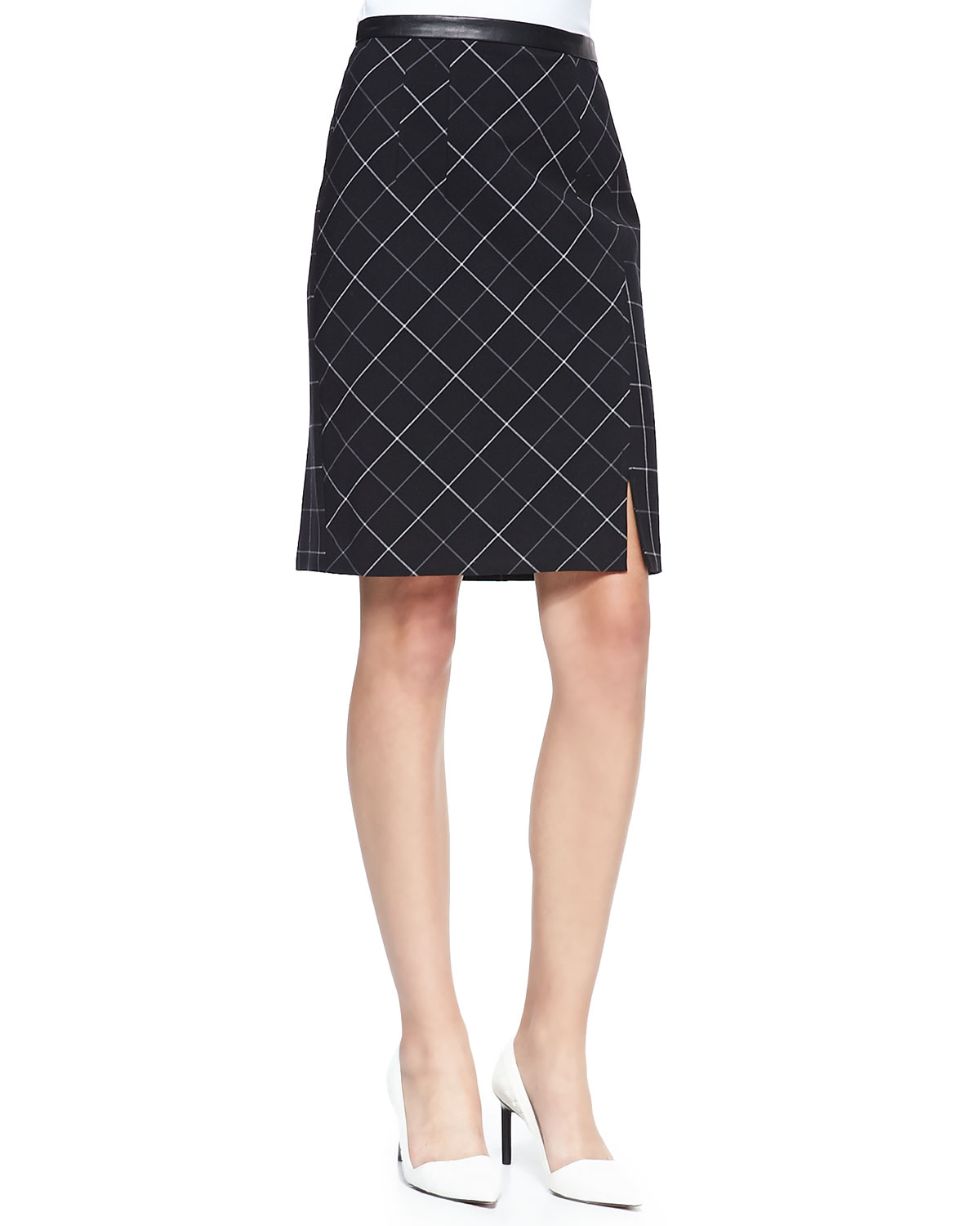 nanette lepore scholarly leather trim pencil skirt in