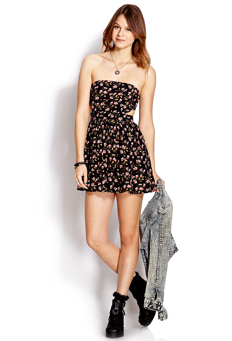 Forever 21 Mod Strapless Floral Dress in Black | Lyst