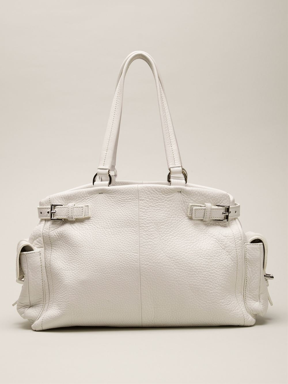 Prada Slouchy Shoulder Bag in White | Lyst - prada shoulder bag white
