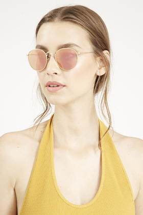 Lyst - TOPSHOP Gold Frame Round Metal Sunglasses By Ray-ban in Pink adef43a3c