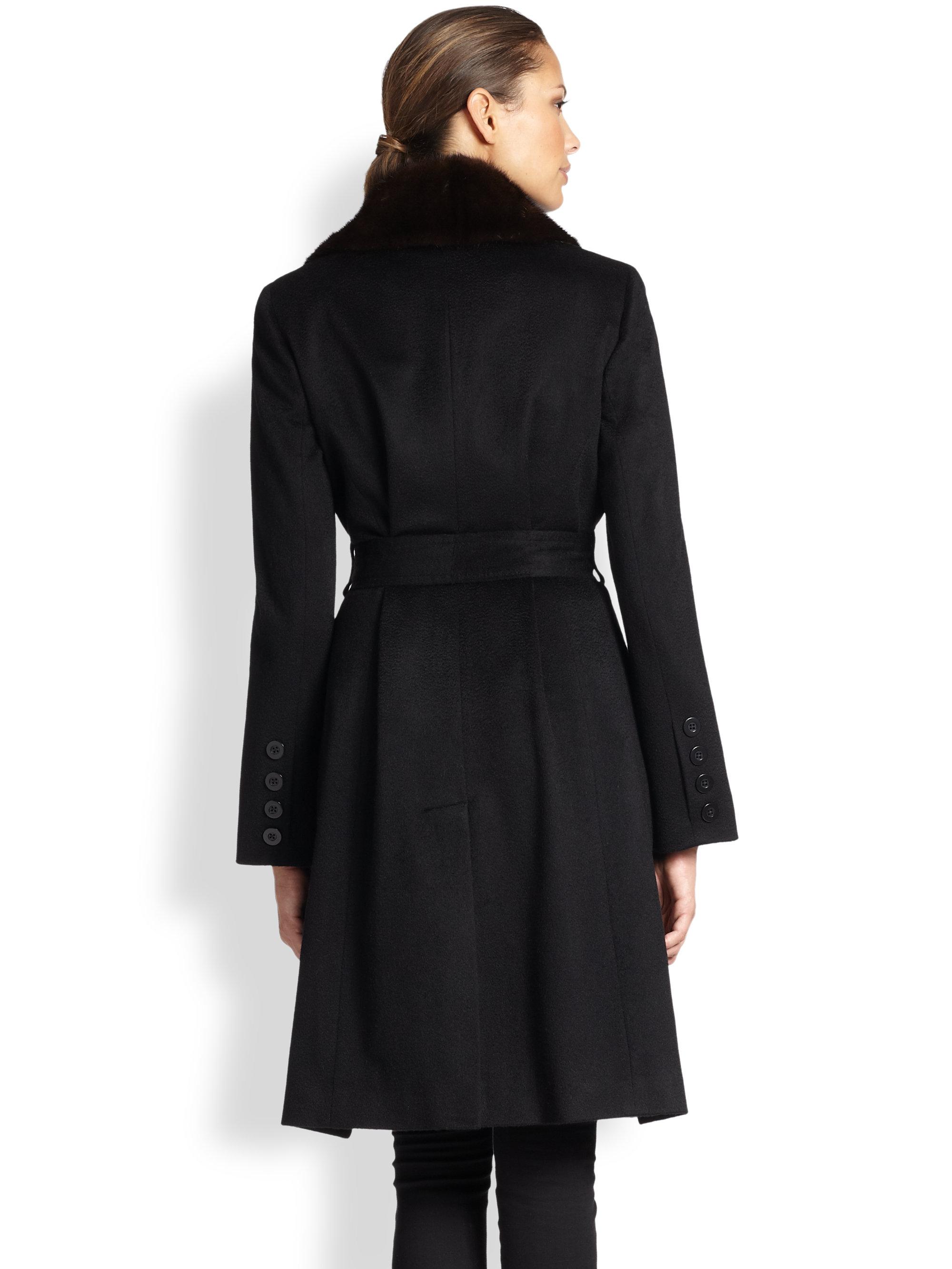 Sofia cashmere Mink-Collar Cashmere Wrap Coat in Black | Lyst
