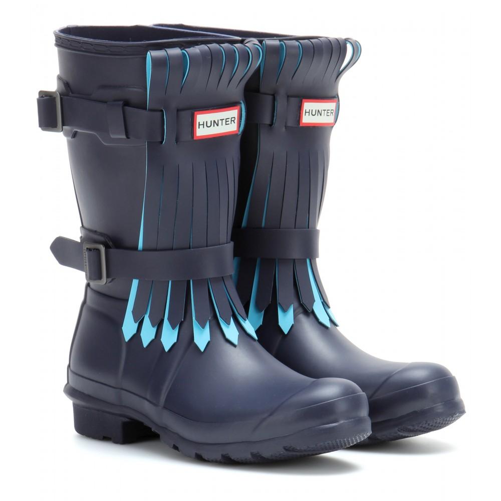 lyst hunter short fringe rain boots in blue. Black Bedroom Furniture Sets. Home Design Ideas