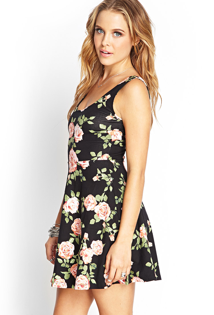 forever 21 floral print swing dress in black lyst