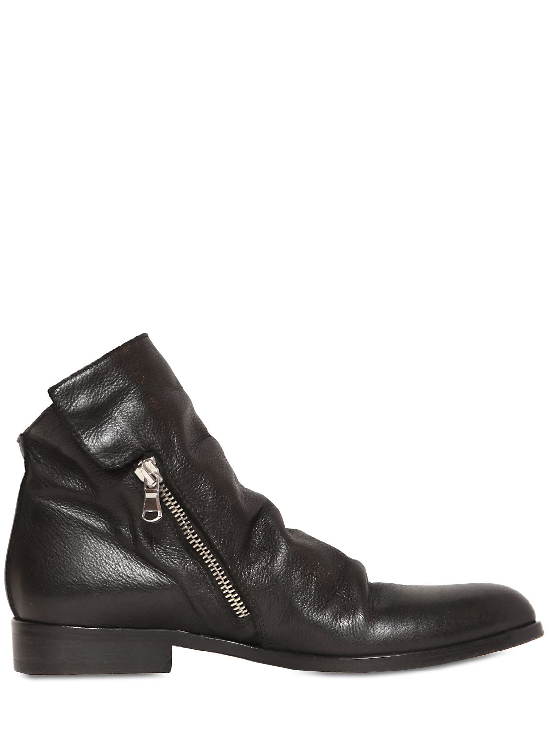 Strategia 20mm Zipped Tumbled Calf Ankle Boots in Black