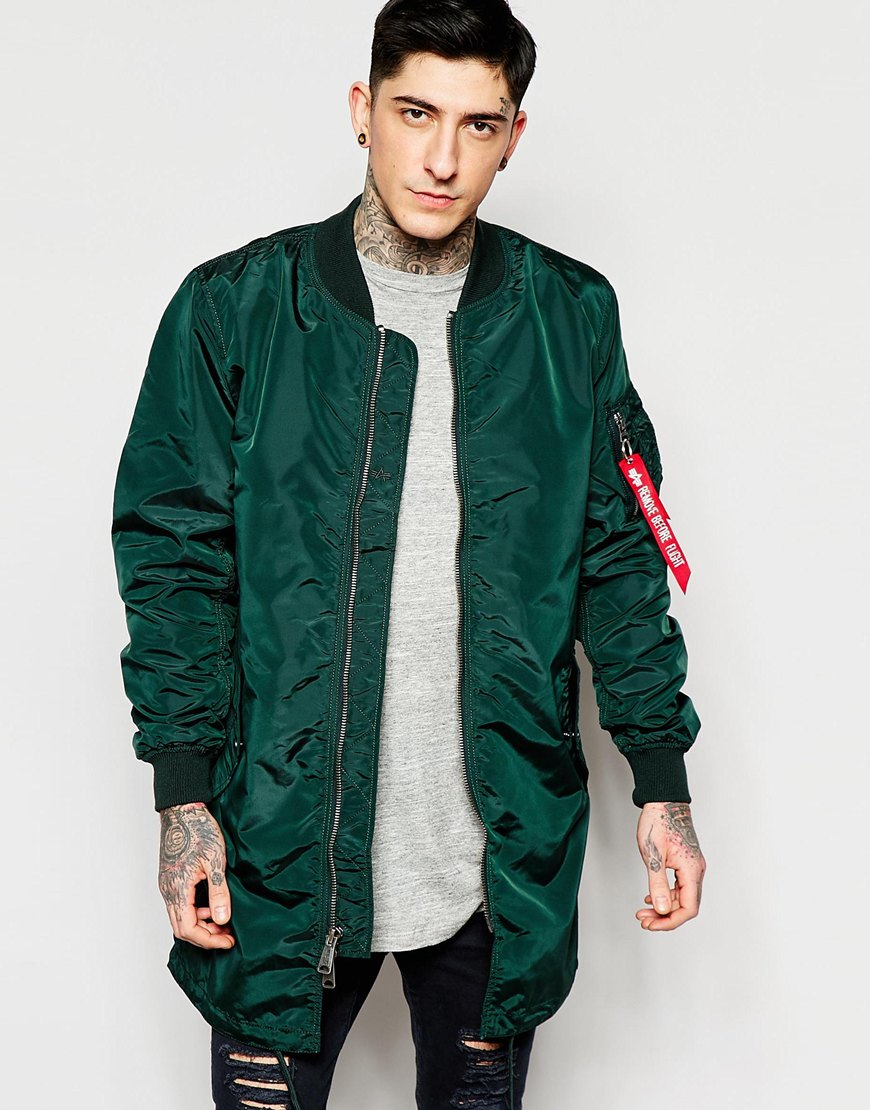 alpha industries lpha industries ma1 long bomber jacket slim fit in green in green for men lyst. Black Bedroom Furniture Sets. Home Design Ideas