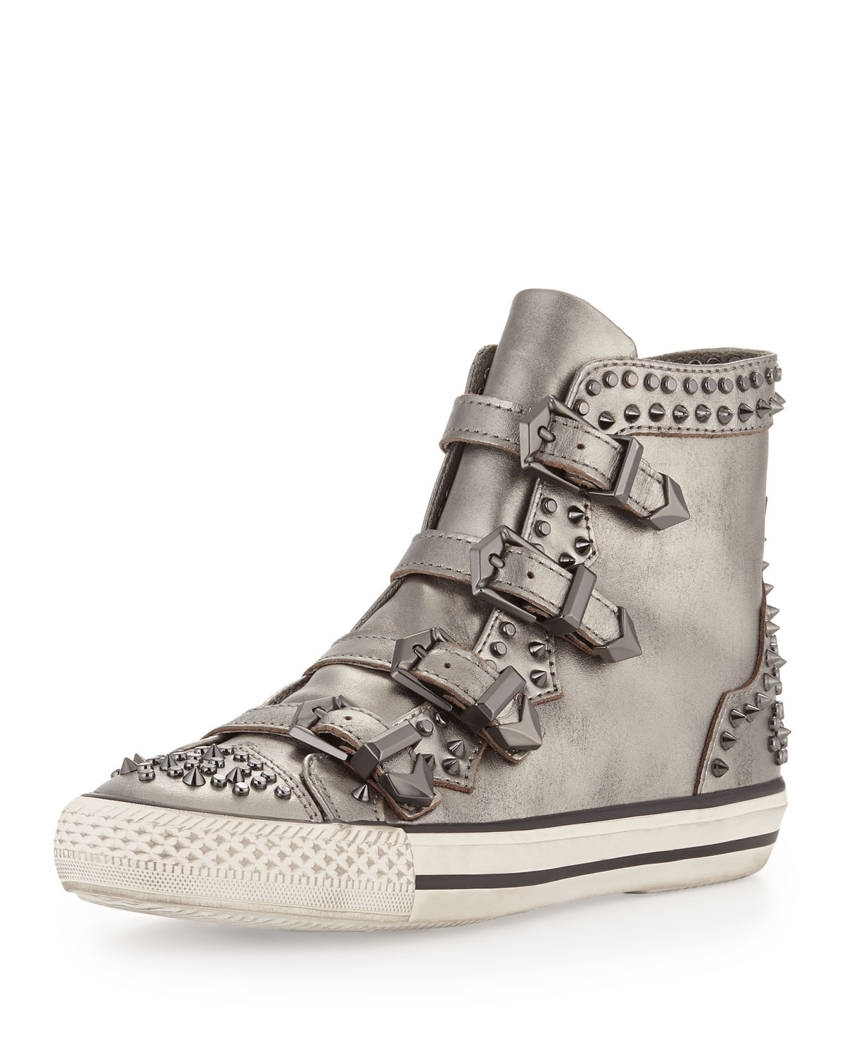 ash viking studded buckled hightop sneaker silver in metallic lyst. Black Bedroom Furniture Sets. Home Design Ideas