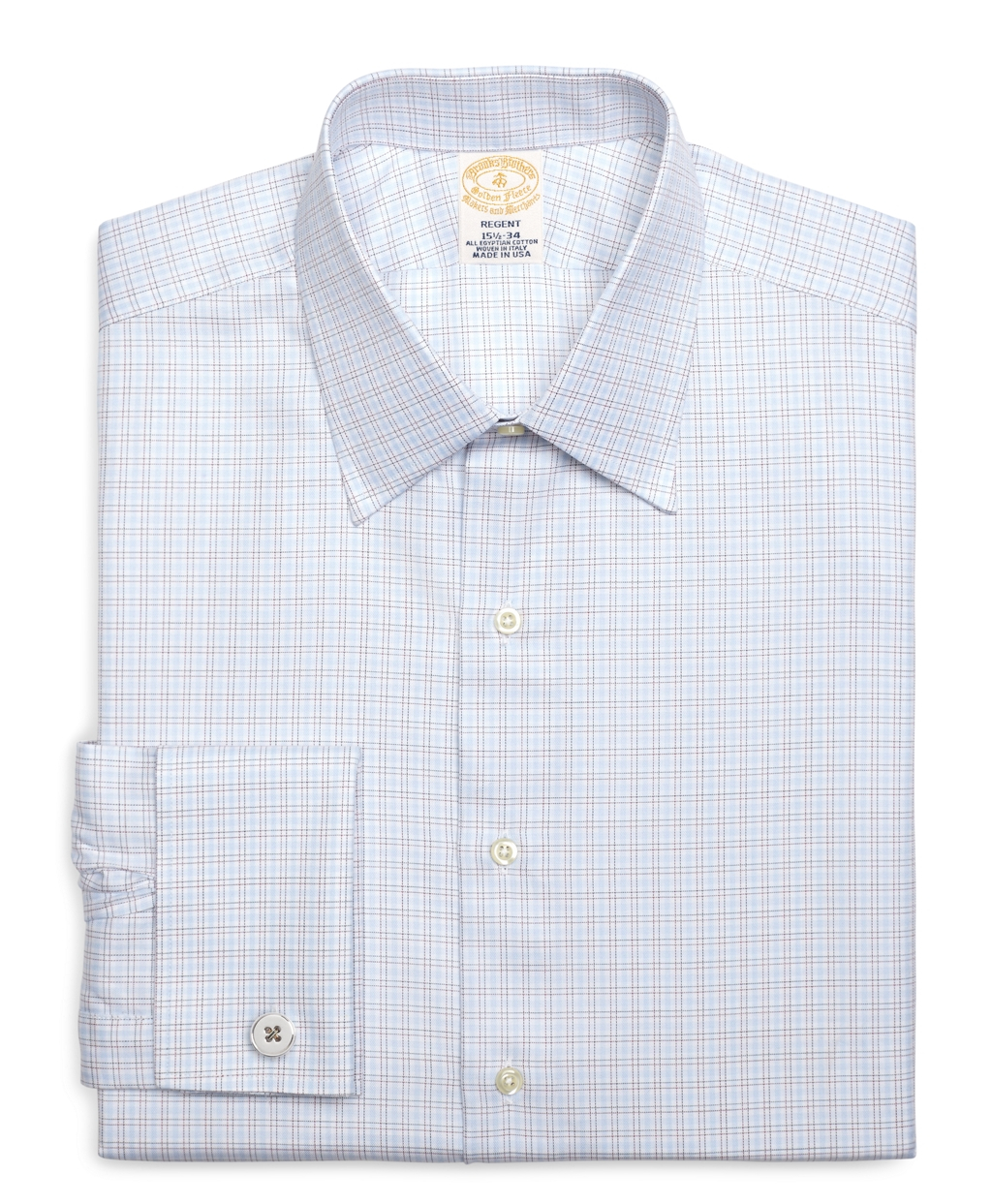 Brooks brothers regent fit twin check french cuff dress for Brooks brothers dress shirt fit guide