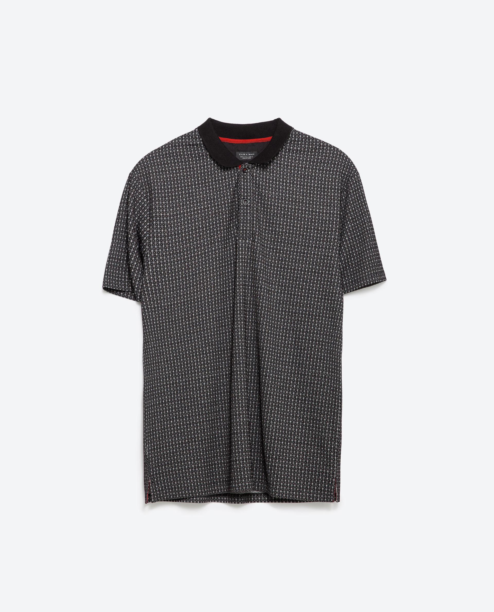 Zara jacquard polo shirt in black for men lyst for Zara mens shirts sale