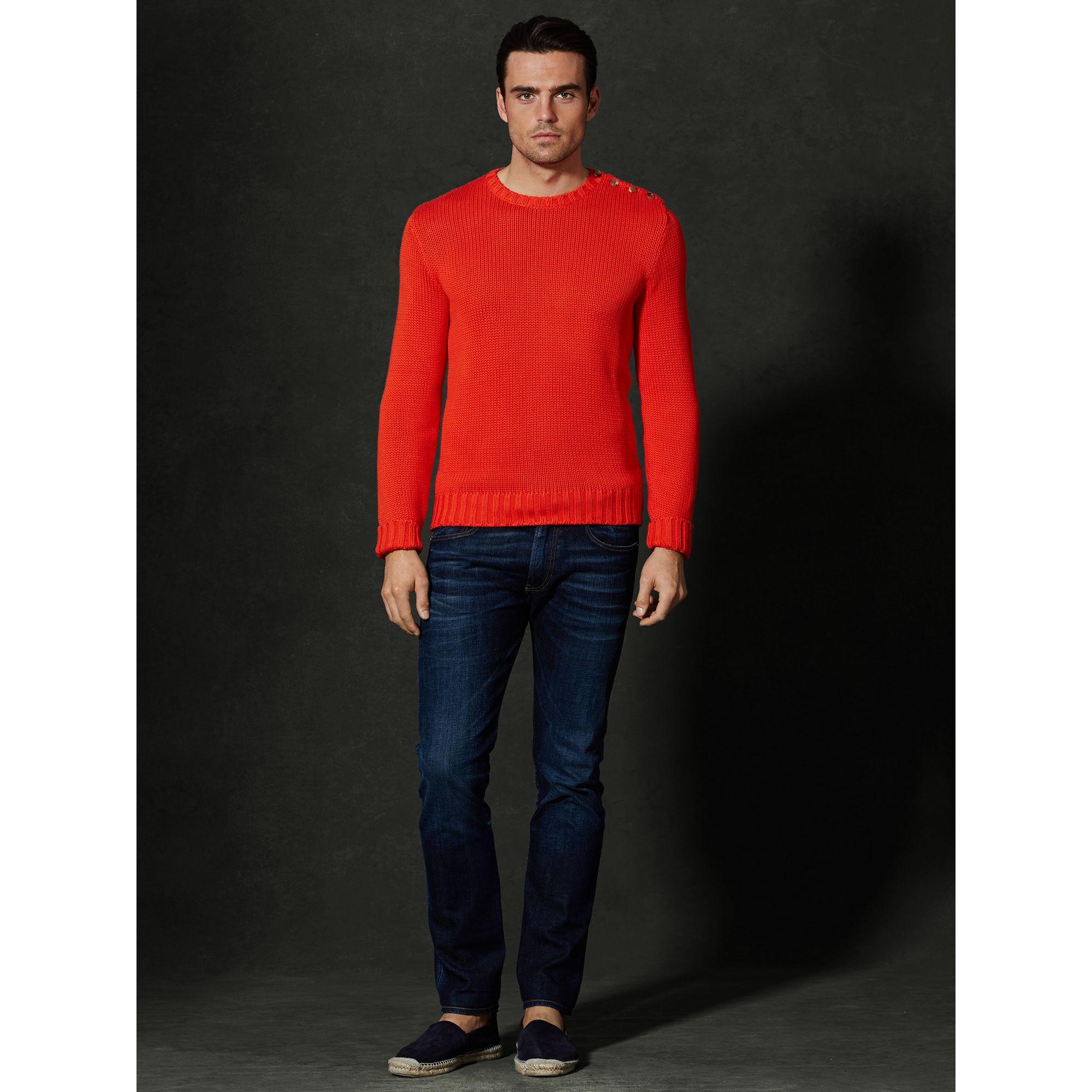Ralph lauren purple label Buttoned-Shoulder Sweater in Red for Men ...