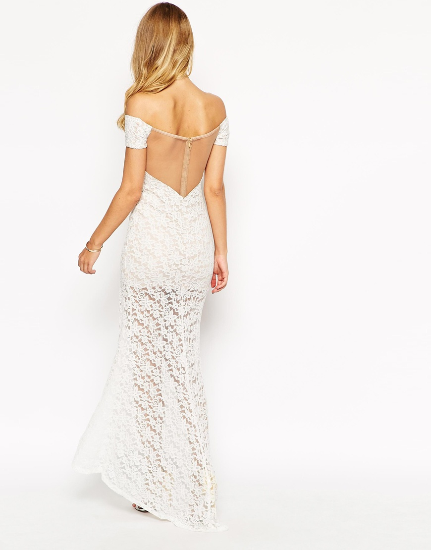 b49afaddb3 Ginger Fizz Lace Off Shoulder Maxi Dress in White - Lyst